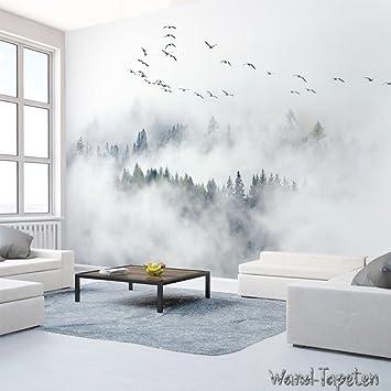 WTD Papel pintado pared papel pintado pared Imágenes de Ikea Tipo pájaro Pino Bosque Nuboso KN