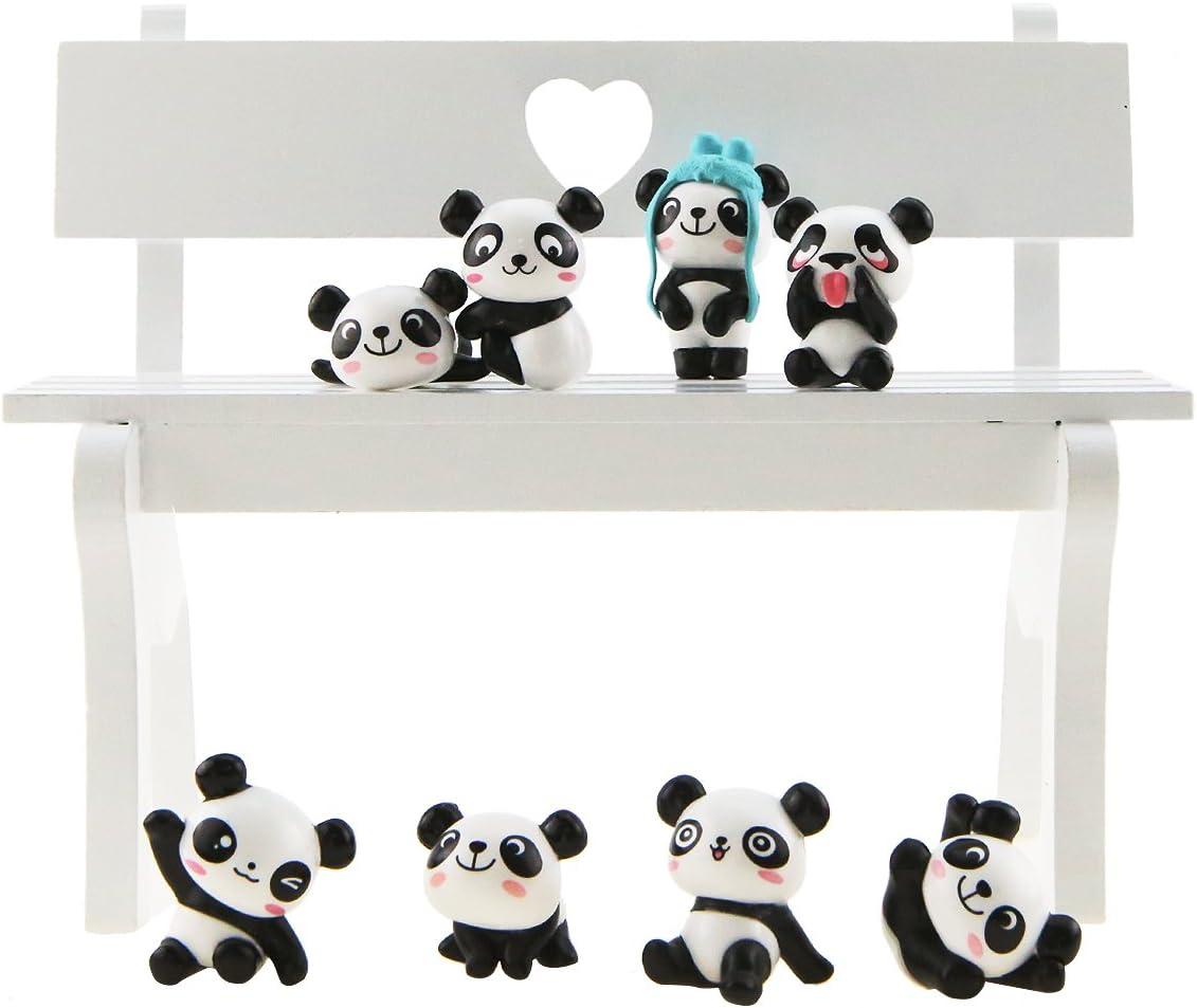 Dawa 1 Juego (8 Piezas) de Figuras de Panda Juguetes, Bricolaje, decoración de Pasteles, muñecas de jardinería
