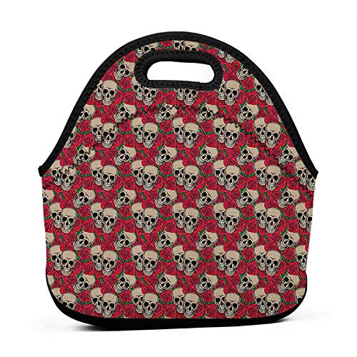Large Size Reusable Lunch Handbag Rose,Graphic Skulls and Red Rose Blossoms Halloween Inspired Retro Gothic Pattern, Vermilion Tan Green,kids book bags for girls with the lunch bag ()