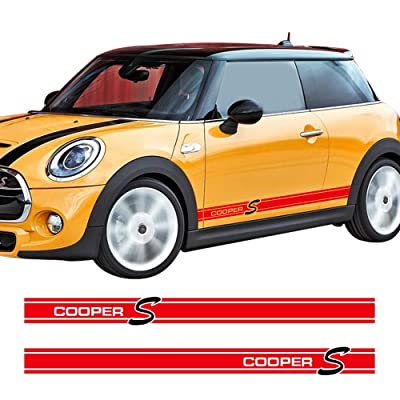 Charminghorse 2Pieces Side Skirt Coopers Graphics Racing Stripes Decal Stickers for Mini Cooper S R56 R57 R58 R50 R52 R53 R59 F55 F56 (Gloss Red): Automotive