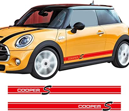 Skirt Stickers decal graphic stripe BMW Mini Cooper Car Side Racing Stripes