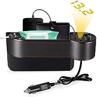 Organizador de Almacenamiento para Asiento de Coche AUTOLOVER Organizador de Bolsillo Lateral para Asiento de Coche con 2 Cargadores USB y 2 encendedores de cigarrillos piel sintética de alta calidad