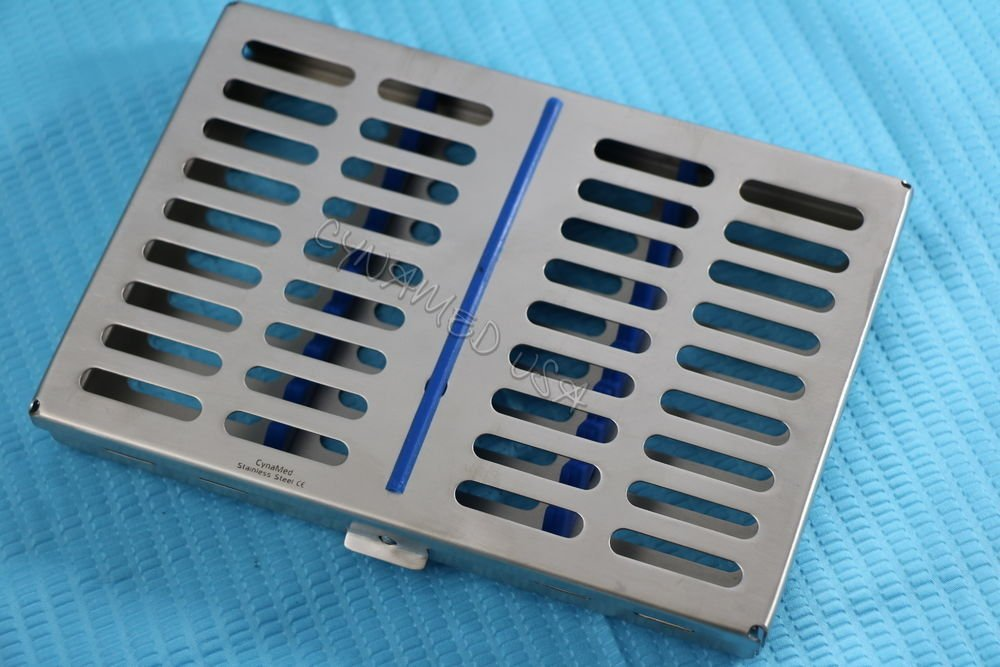 10 DENTAL AUTOCLAVE STERILIZATION CASSETTE RACK BOX TRAY FOR 10 INSTRUMENT BLUE ( CYNAMED ) by CYNAMED (Image #5)