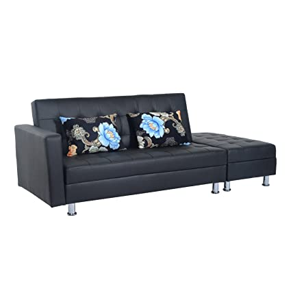 HomCom PU Leather Folding Sofa Couch Sleeper Bed W/Storage Ottoman   Black