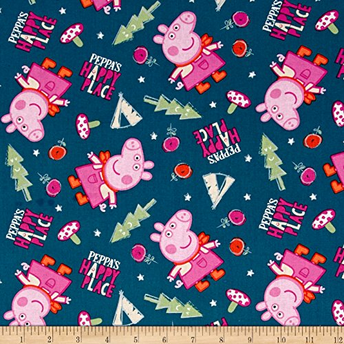Springs Creative Products Pig Peppa's Happy Place Blue Fabric by The Yard