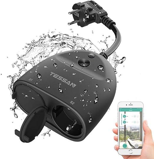 WLAN Outdoor Steckdose TECKIN 16A 4000W Wasserdicht Au/ßensteckdose mit 2 Ausg/änge mit App Fernsteuerung Smart Home Intelligente Wi-Fi Outlet Kompatibel mit  Alexa Google Home und IFTTT