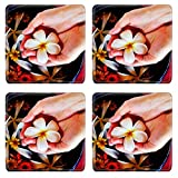 MSD Square Coasters Non-Slip Natural Rubber Desk Coasters design 20580642 spa and beauty female hand and flower in water
