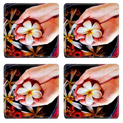 MSD Square Coasters Non-Slip Natural Rubber Desk Coasters design 20580642 spa and beauty female hand and flower in water by MSD