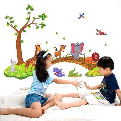 Animal crossing bridge 3D wall stickers DIY Wall Sticker Decals Cartoon Crossing Bridge Animals Kids Nursery Bedroom Living Room Home Decor Art DIY Wall Stickers Decals Mural Removable Poster Wall Pap: Home Improvement