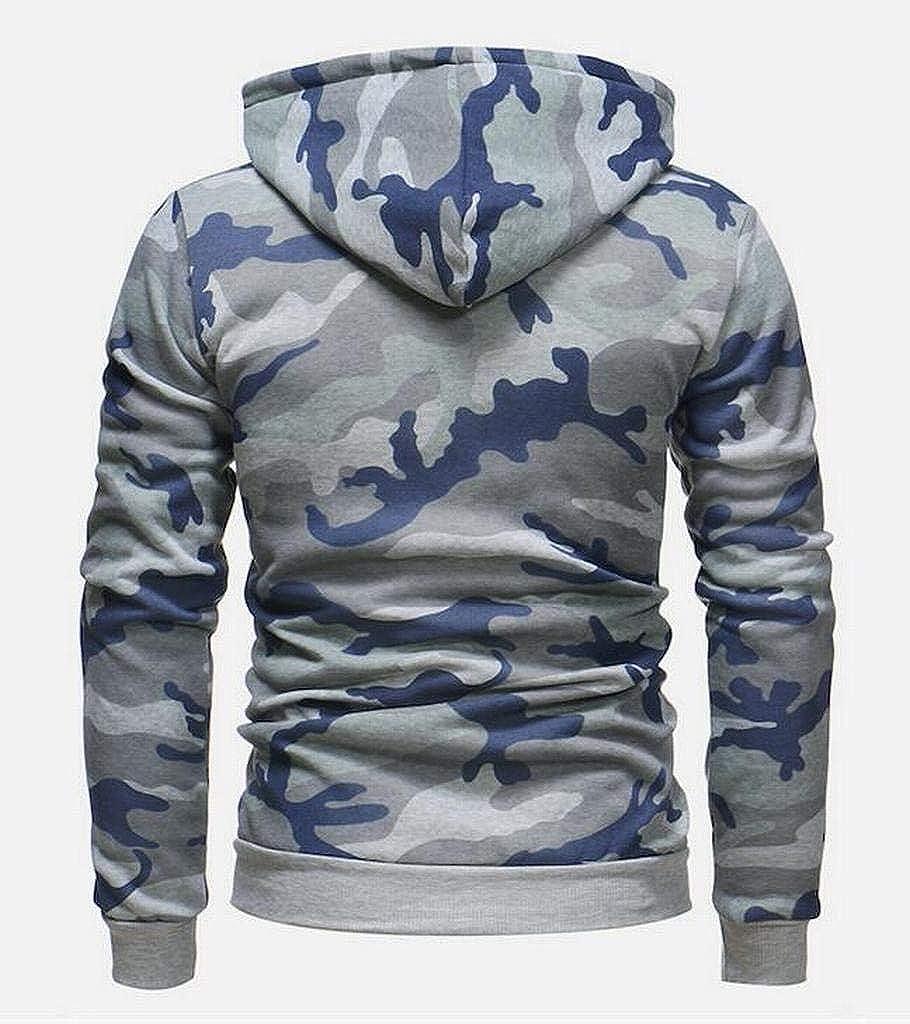 Heless Mens Full-Zip Camo Regular Fit Long Sleeve Casual Hoodie Sweatshirt Jacket