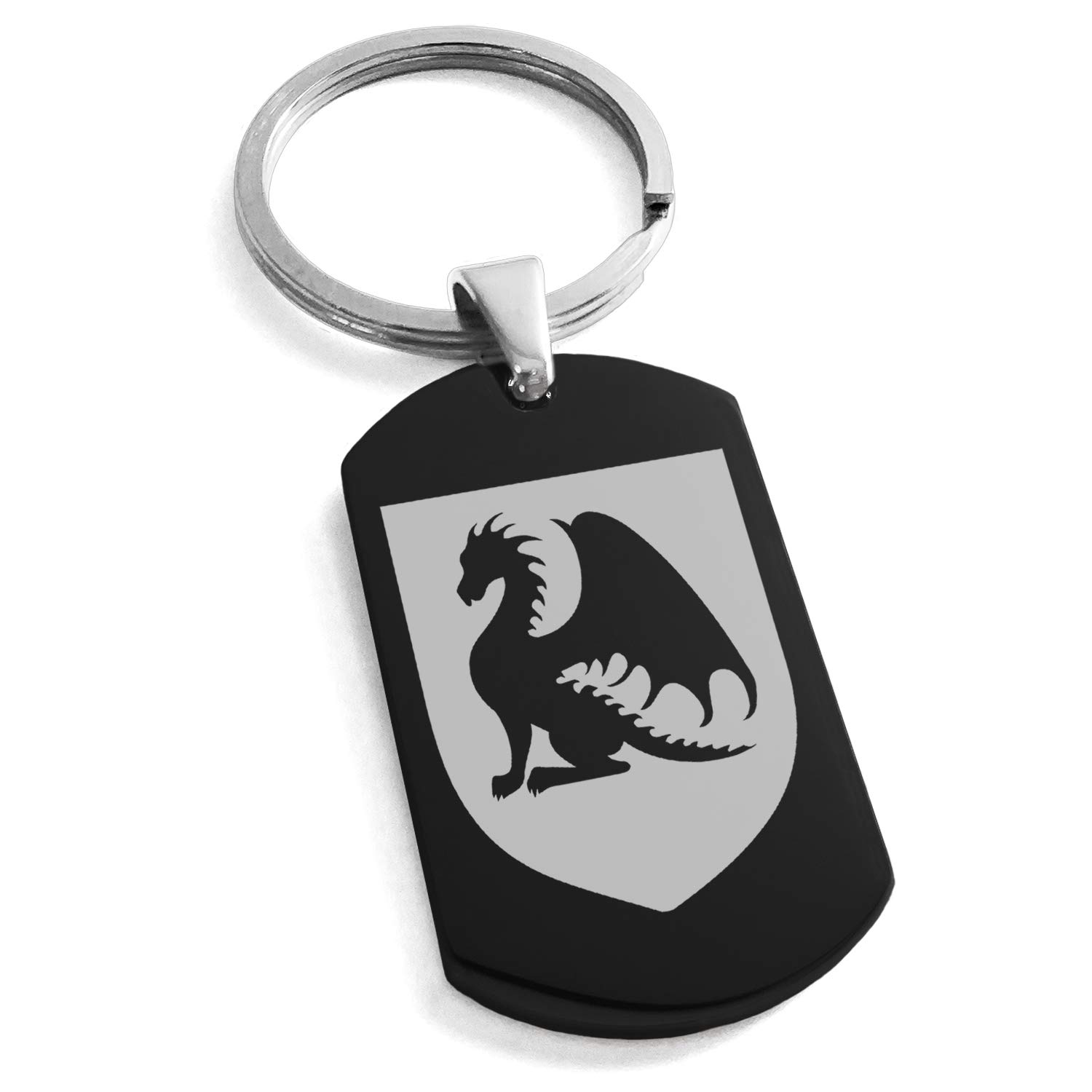 Tioneer Black Stainless Steel Dragon Guardian Coat of Arms Shield Symbol Engraved Dog Tag Keychain Keyring