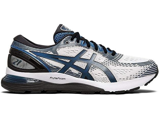 ASICS Men's Gel-Nimbus 21 Running Shoes, 6M, White/DEEP Sapphire