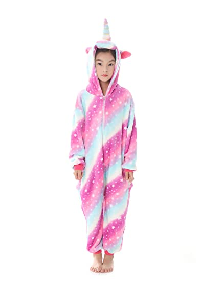 Amazon.com  Kids Fleece Onesie Unicorn Pajamas Animal Christmas Halloween  Cosplay Costume  Clothing 2ad6481938f9