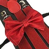 4everStore Unisex's Bow tie & Suspender Sets (Metallic Red)