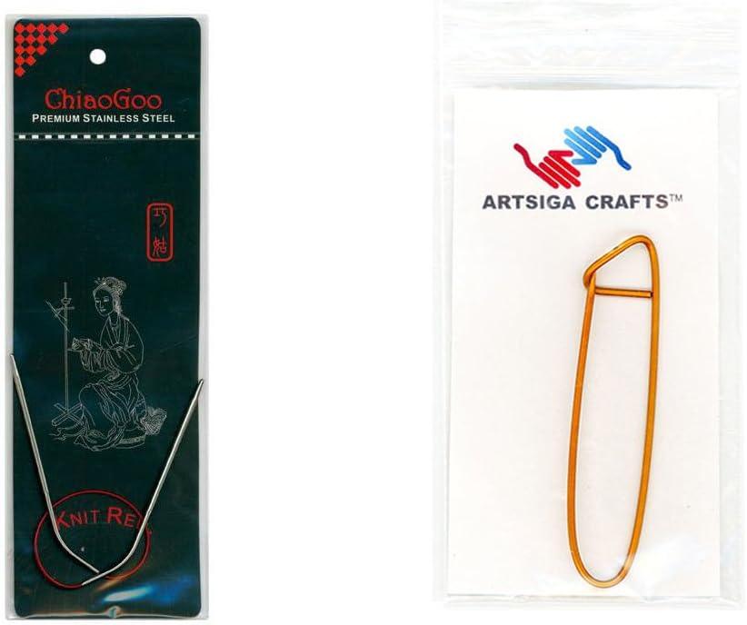 Size US 2 2.75mm . 23cm HiyaHiya Circular 9-inch Steel Knitting Needles