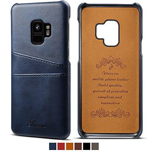 Slim Samsung S9 Phone Wallet Case Back Case Cover With Credit Card Slots Blue Case (Men Platinum For)