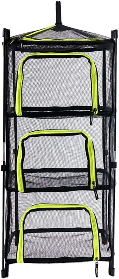 Droognet, opknoping mand 3 lagen met rits, vouwen tent accessoires mesh opknoping droger Rack Camping Outdoor Groen