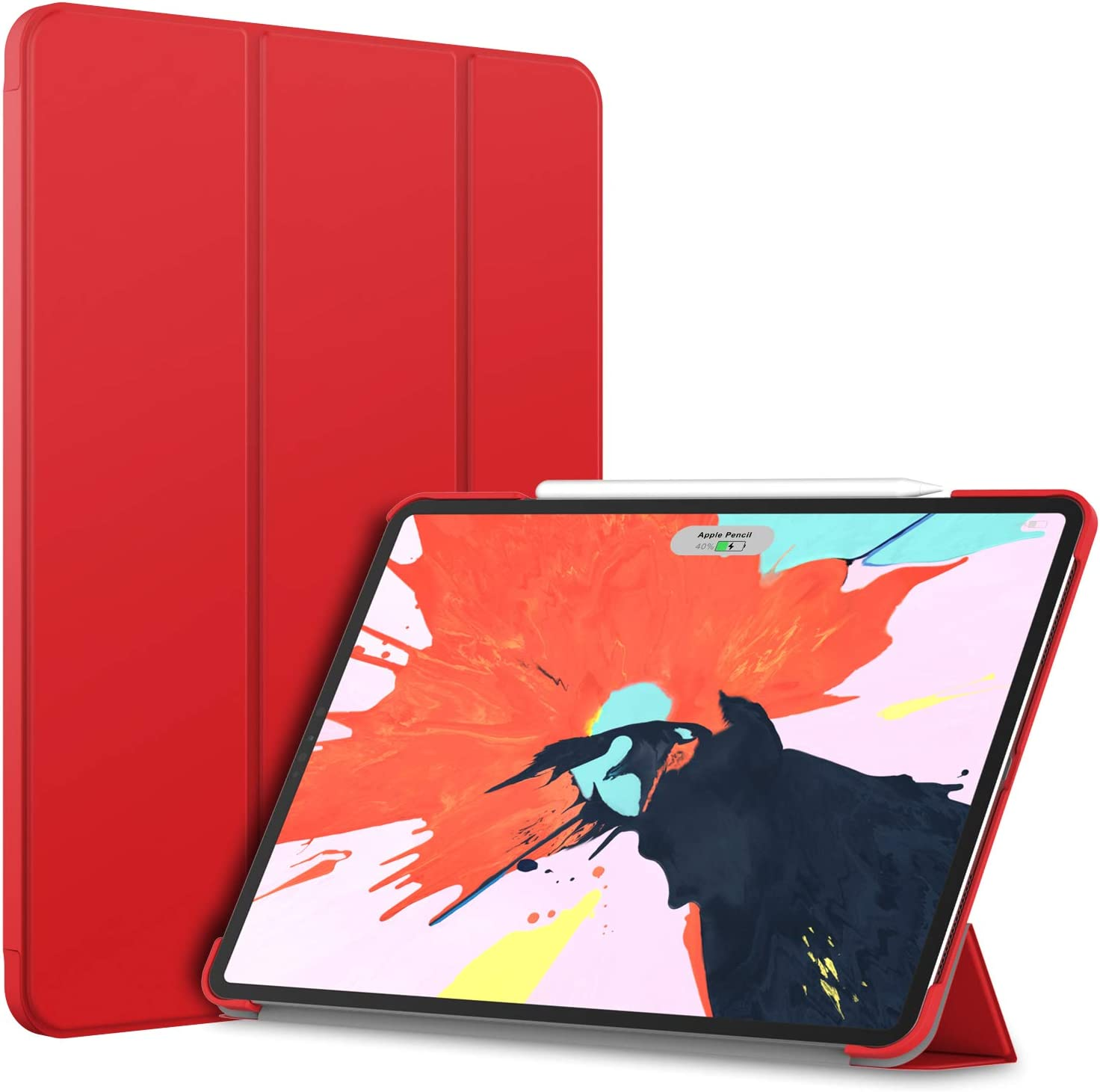 JETech Case for iPad Pro 12.9-Inch (2020 / 2018 Model), Compatible with Pencil, Cover Auto Wake/Sleep, Red
