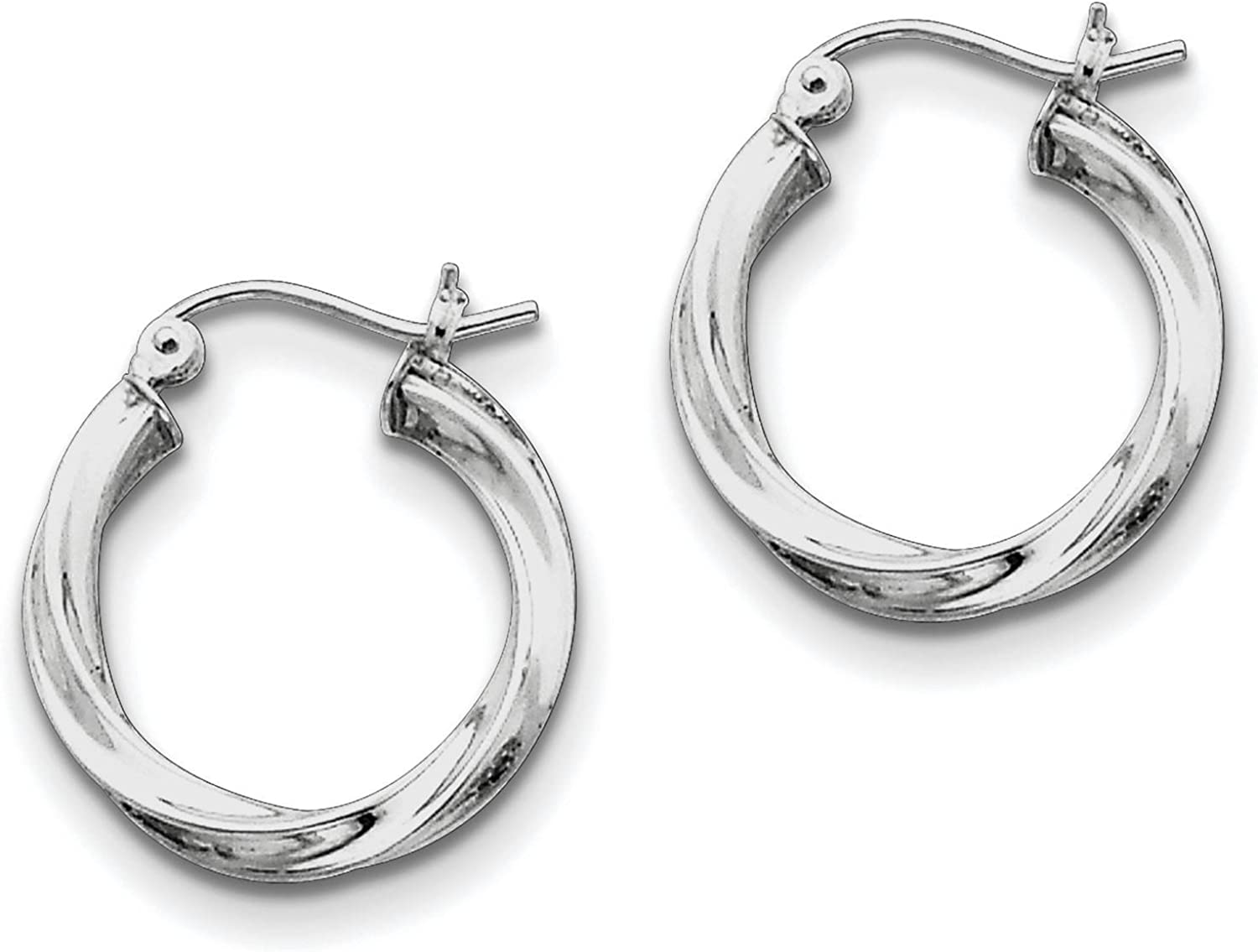 925 Sterling Silver Rhodium-plated Polished Round Twisted Hoop Earrings 2.5mm x 22mm