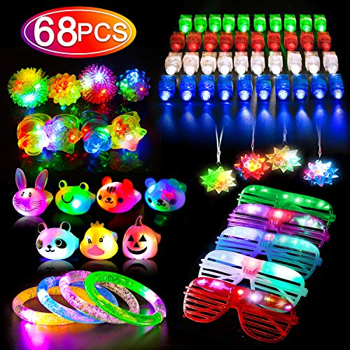 Glow Party Favors (68PCS LED Light Up Toys Party Favors for Kids/Adults, Glow in the Dark Party Supplies include 40 Finger Lights, 8 Jelly Rings, 7 Light Up Animals Rings, 5 Led Glasses,)