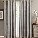 eLuxurySupply Laguna Jacquard Grommet Top Curtain Panel Window Treatment – Set of Two (2) – Multiple Sizes & Colors Available For Sale
