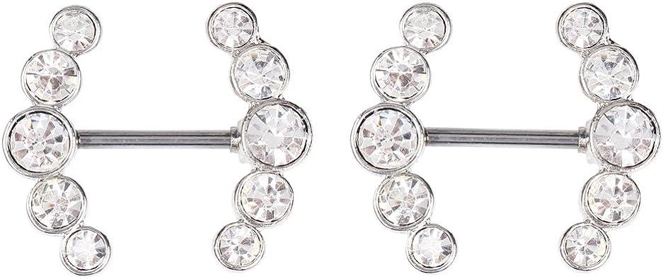 1 Paire Superbe Cristal CZ Corps Piercing mamelon anneau en acier inoxydable Barbell 14 g