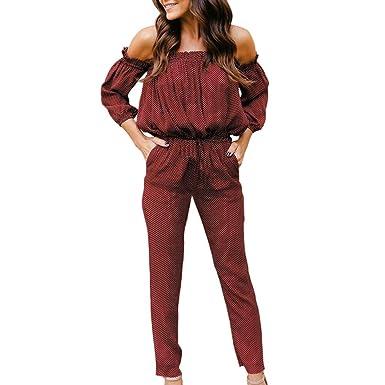 moonuy  blouse Moonuy Combinaison Femme Pantalon Manche Longue Long Chic Épaule  Dénudée 3 4 Bustier ab8db399b685