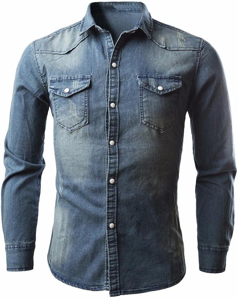 Landfox Camisas de Hombre Camisa Vaquera Retro Blusa Vaquera (XXXL): Amazon.es: Ropa y accesorios