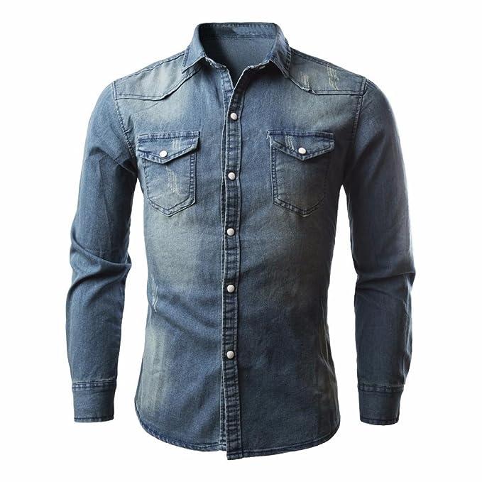 Landfox Camisas de Hombre Camisa Vaquera Retro Blusa Vaquera (M)