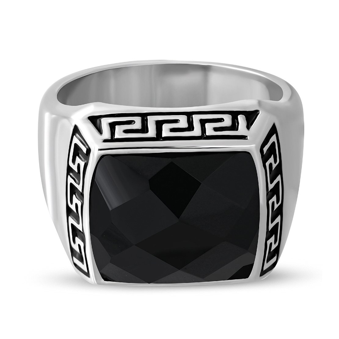 Stainless Steel 2 Color Greek Key Bezel-Set Checkerboard-Cut Square Signet Biker Ring with Faceted Jet Black CZ