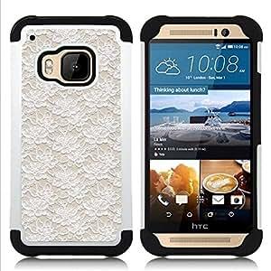 """Pulsar ( Vintage Vignette Wallpaper Beige"""" ) HTC One M9 /M9s / One Hima híbrida Heavy Duty Impact pesado deber de protección a los choques caso Carcasa de parachoques [Ne"""