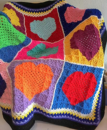 (Crochet heart afghan Blanket granny square handmade crochet throw patchwork)
