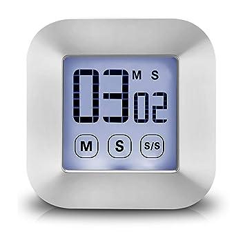 Temporizador de Cocina Digital Magnético Pantalla Táctil - XREXS Pantalla LCD Cuenta regresiva Temporizador electrónico con fuerte magnético y de pie, Reloj ...