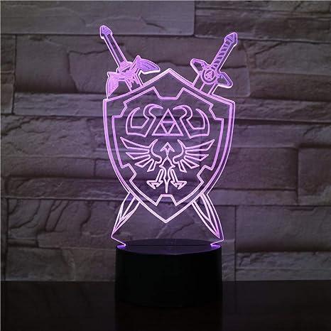 3D Luz Nocturna Lámpara 3D The Legend Of Zelda Kids Night ...
