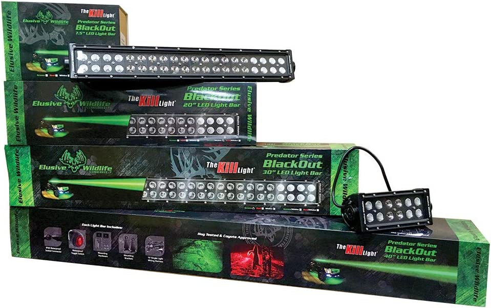 Kill Light Predator Series Blackout LED Driving Light Bar 7.5, Green