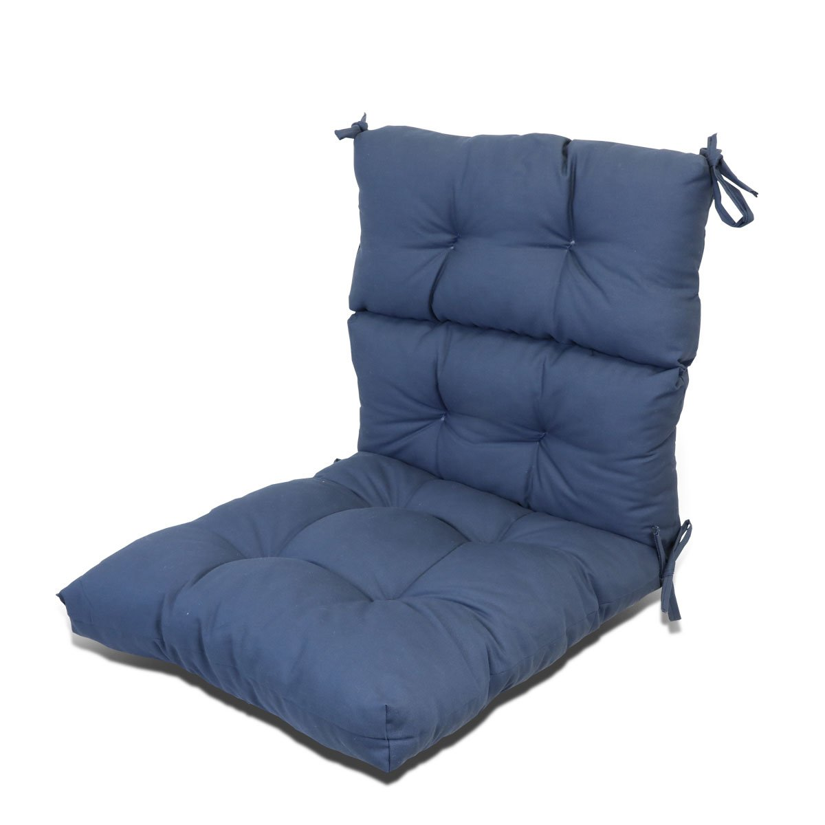 Magshion Outdoor/Indoor Pretty Wicker Seat/Back Chair Cushion Made in USA (Navy Blue)