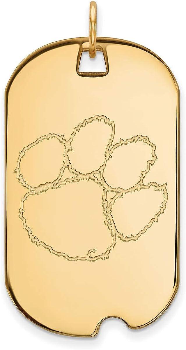 Clemson University Tigers School Mascot Pendant Gold Plated Silver