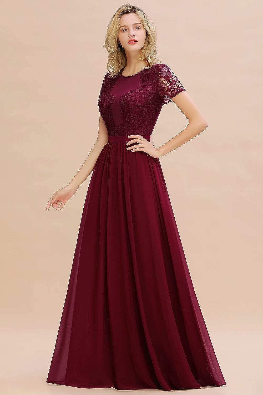 Babyonline/® Damen Elegant Ballkleid Elegant Spitzenkleid Hochzeit Chiffon Partykleid Langes Kleid