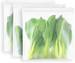 MAXCOOK Reusable Storage Bags, 3 Pack Gallon Bags BPA FREE Thicken Leak Proof Reusable Food Bags, Freezer Bags, and Plastic Free Ziplock Lunch Bags for Food Marinate Meat Fruit Cereal, Large Size
