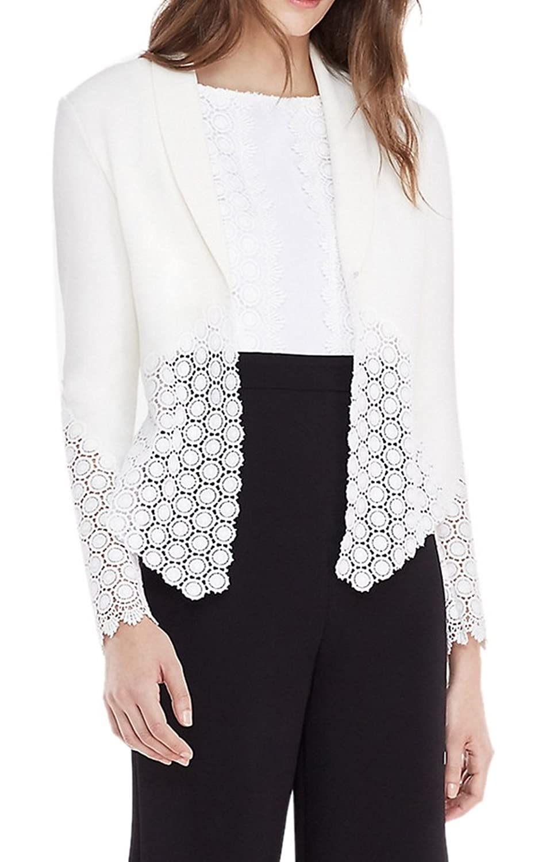 Youtobin Women's Floral Hem Slim Blazer Casual Lapel White Short Coat Cardigan