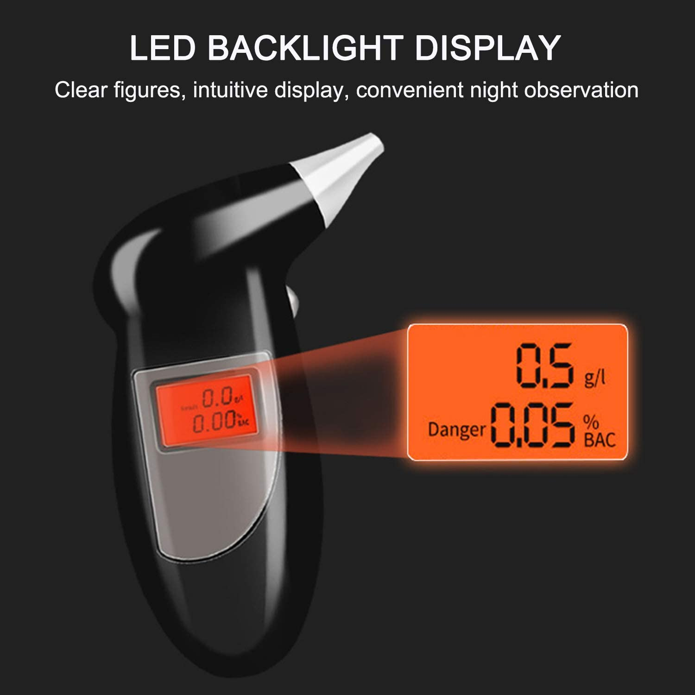 KKmoon Alkoholtester Digital LCD Bildschirm Display Tragbar Halbleiter Sensor Alkoholmessger/ät Atemalkoholtester Akustischer Alarm mit 20 Mundst/ücke