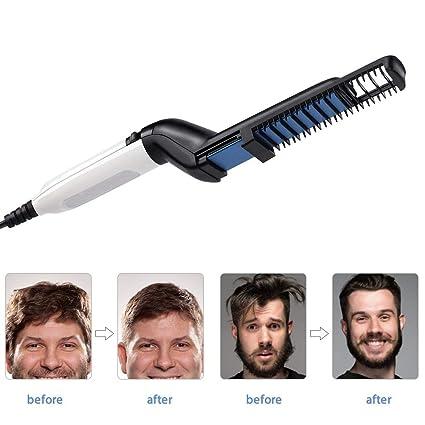 Barba alisadora de pelo, Multifuncional rizador de pelo de los hombres enderezar formando peine, barba eléctrica herramienta de pelo de peine alisado ...