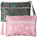 kilofly Chinese Silk Brocade 2 Zipper Pockets Tassel Jewelry Pouch Bag, Set of 2