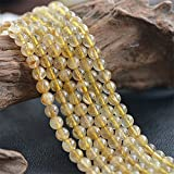 6mm Round Gold Rutilated Quartz Beads Loose Gemstone Beads for Jewelry Making Strand 15 Inch