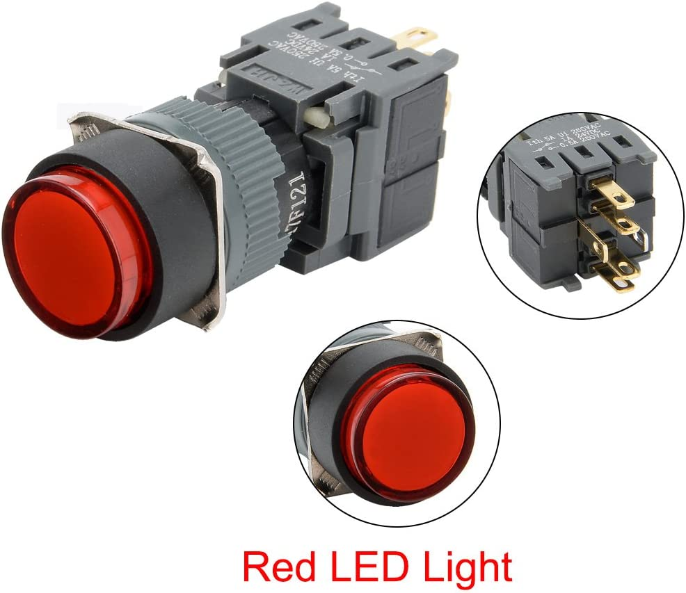 uxcell 2pcs Momentary Push Button Switch 250V Round Head 16mm Mounting Dia SPDT 1NO 1NC with 24VDC Red LED Light