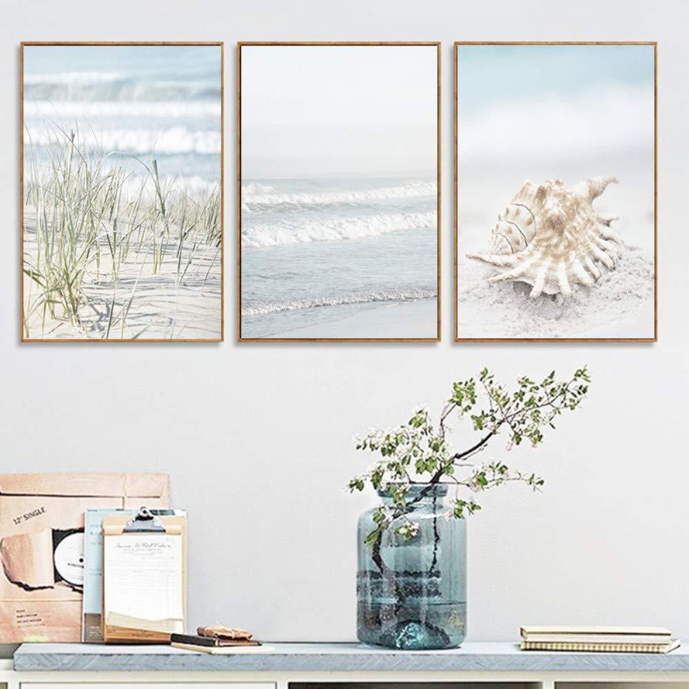 50×70cm ZJMI Pintura Decorativa Paisaje náutico Shell Póster de Arte de Parojo de Algas Ola oceánica Pintura en Tela e Imprime fotografías para baño salón decoración ningún Frame 50×70 cm.