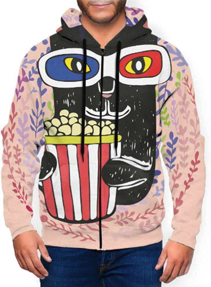 Long Sleeve Hoodie Print Cat Emotions Watching Movie Popcorn Jacket Zipper Coat Fashion Mens Sweatshirt Full-Zip S-3xl