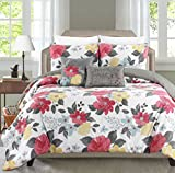 Printed 4-5 Piece Comforter Set Including 2 Decorative Pillows and Sham(s) By Blissful Living – Down Alternative, Brushed Microfiber for a Soft & Luxurious Feel (Gwenevere Sherbert, Full / Queen)