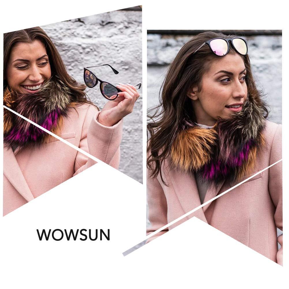 WOWSUN Polarized Sunglasses Women Vintage Retro Round Mirrored Lens Black Purple Pink