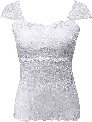 SEWORLD Top de Mujer Camisa con Falda de Encaje Sexy para ...